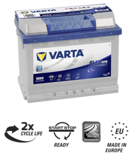 Akumulator 60Ah 560A N60 VARTA EFB